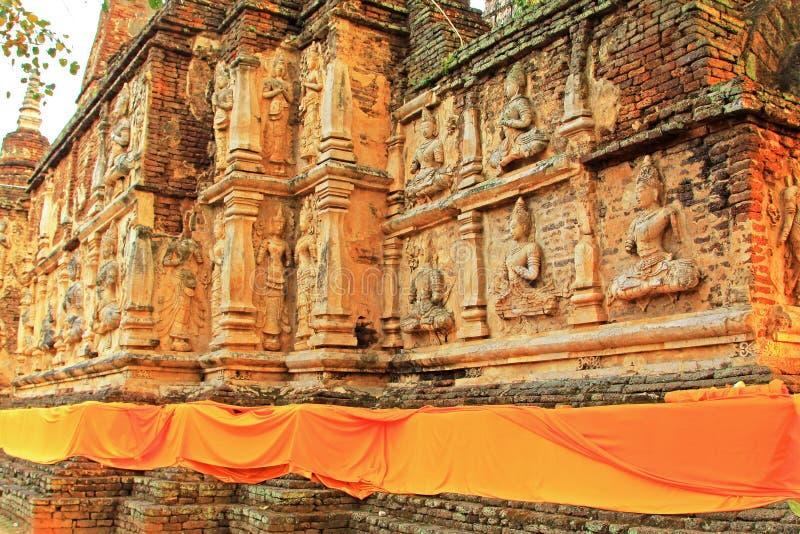 Buddhabild på Wat Jed Yod, Chiang Mai, Thailand arkivfoto