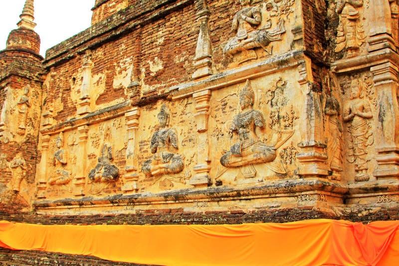 Buddhabild på Wat Jed Yod, Chiang Mai, Thailand royaltyfri bild