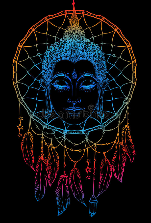 Buddhaframsida över dreamcatcherrundamodell Esoterisk tappning ve vektor illustrationer