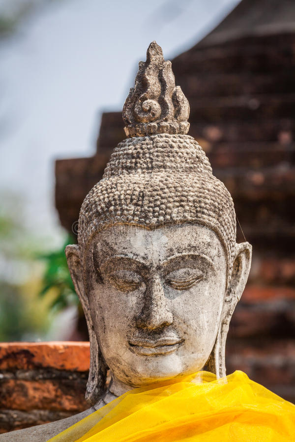 Buddhaframsida i Wat Chaiwatthanaram, Ayutthaya, Thailand royaltyfria foton