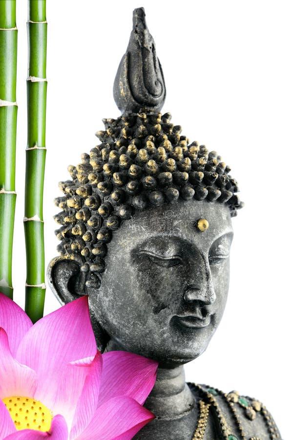 Buddhaframsida med lotusblommablomman och bambustammen royaltyfri bild