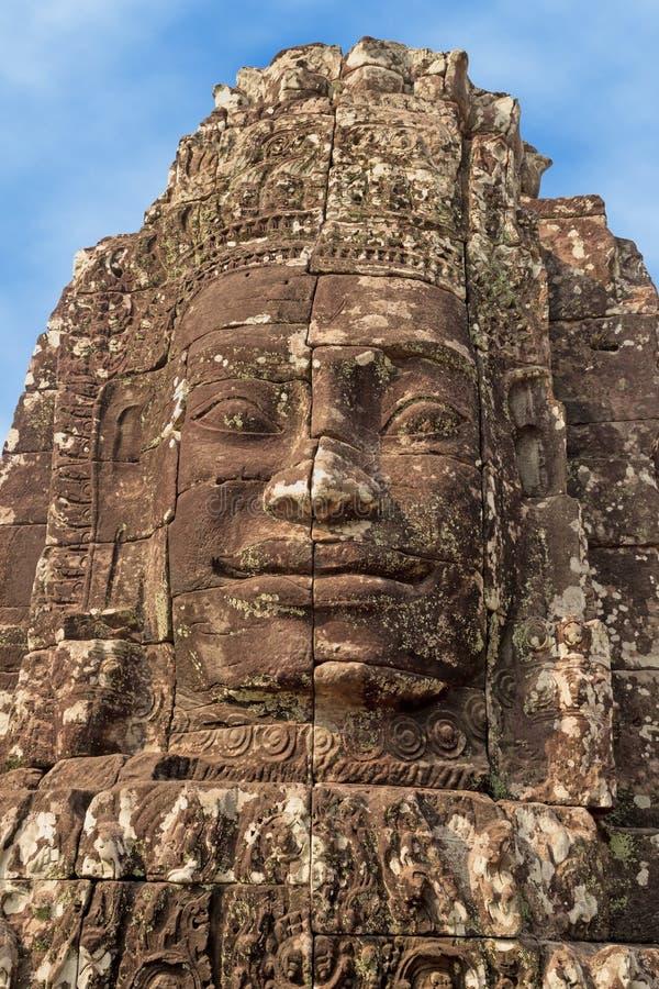 Buddhaframsida som snidas i sten royaltyfri fotografi