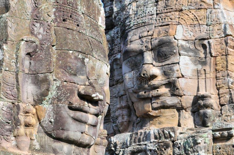 Buddhahuvud av den Bayon templet i Angkor Thom, Cambodja royaltyfria bilder