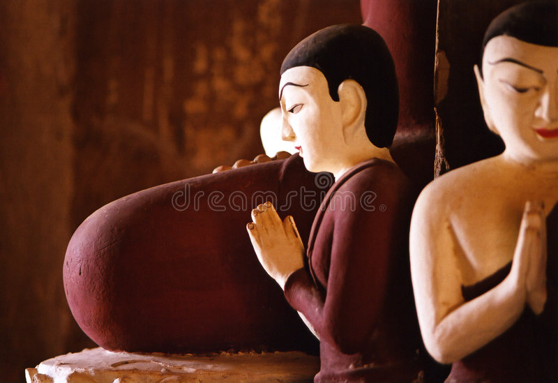 Buddhas in the centre of a pagoda, Bagan, Burma stock image