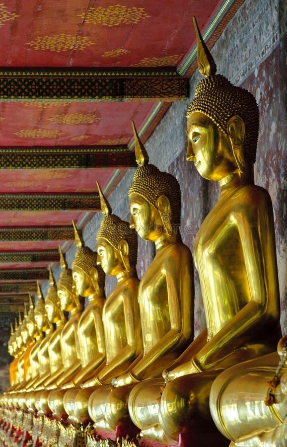 Buddhas dourados no sutat do wat, Banguecoque imagem de stock