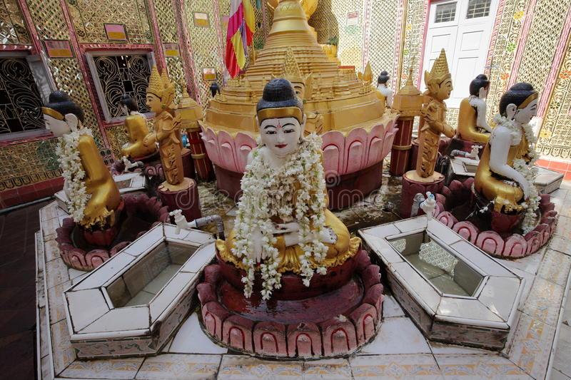 Buddhas and gods statues in Myanmar stock photo