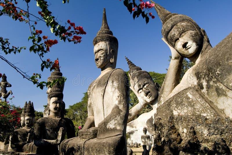 buddhas många laos vientiane arkivfoto