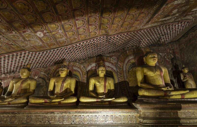 Buddhas richtete im Dambulla-Höhlen-Tempel in Sri Lanka aus stockfotos