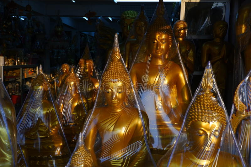 Buddhas for sale in the Buddha market stock photography