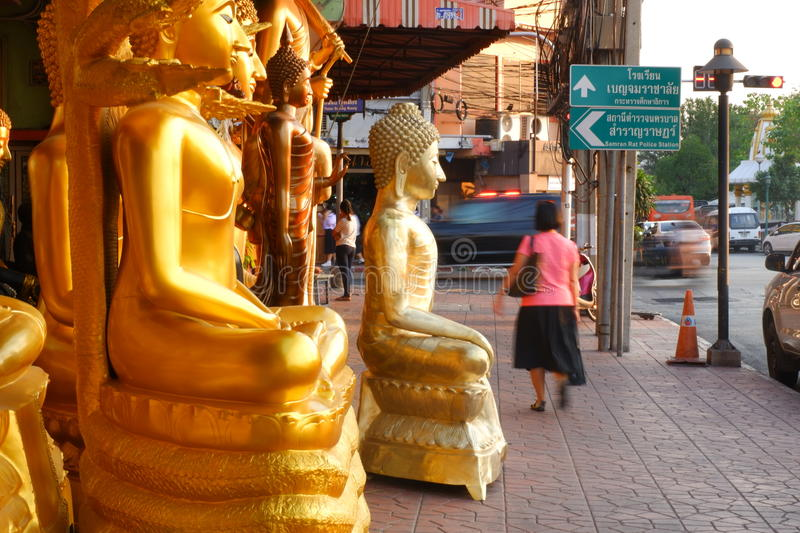 Buddhas for sale in the Buddha market royalty free stock photography
