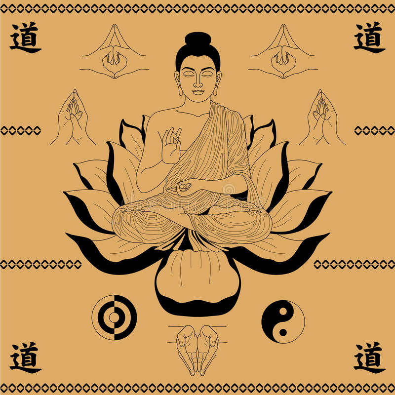 Buddhasammanträde i lotusblomman stock illustrationer