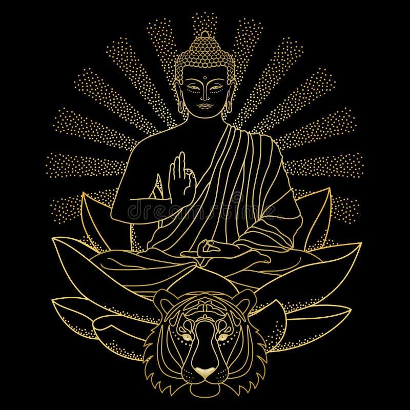 Buddhasammanträde på Lotus med ljus och tigern stock illustrationer