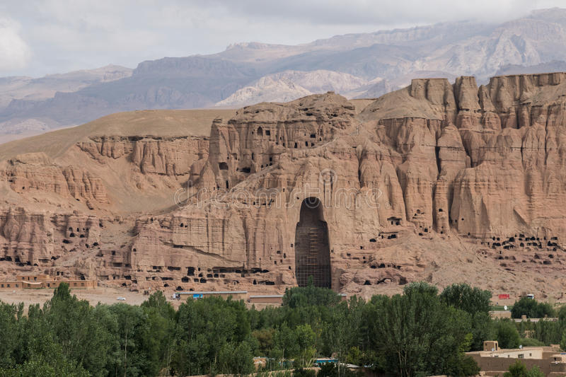 Buddhastaty Bamyan - Afghanistan arkivbild