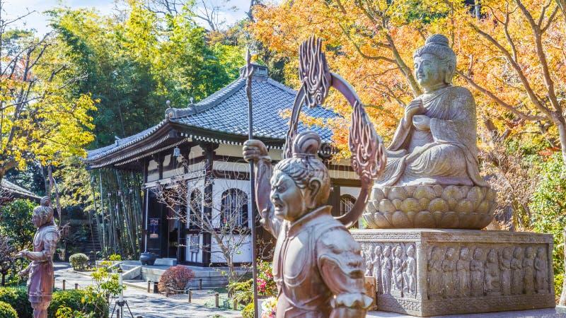 Buddhastaty med förmyndarna på den Hasedera templet royaltyfri fotografi