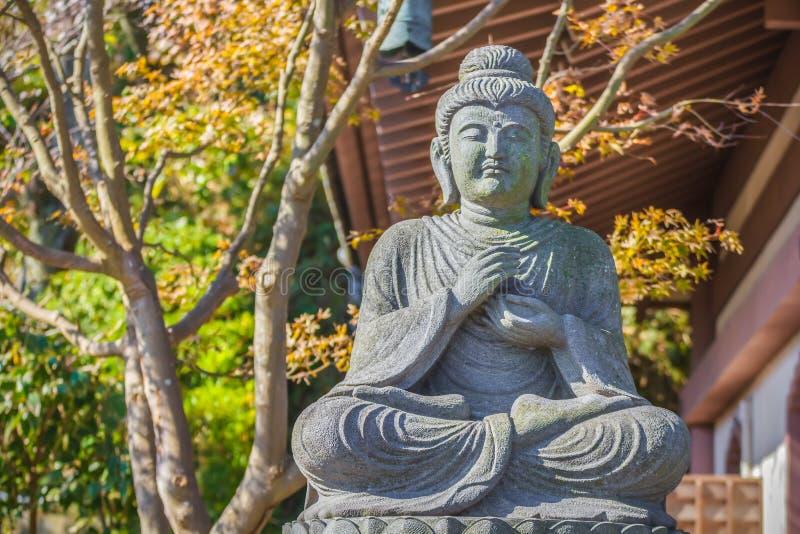 Buddhastaty med förmyndarna på den Hasedera templet i Kamakura fotografering för bildbyråer