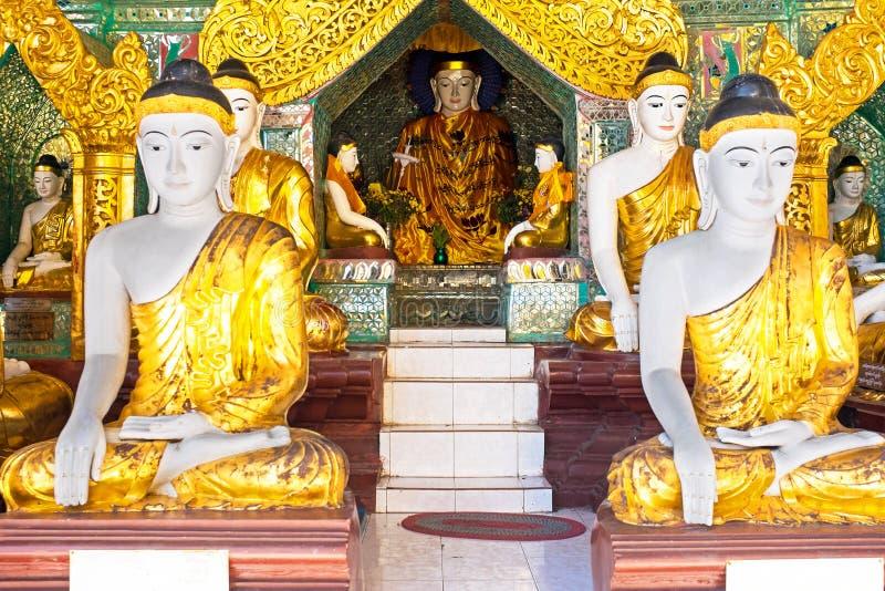 Buddhastatyer i den Shwedagon pagoden i Yangon Myanmar arkivfoton