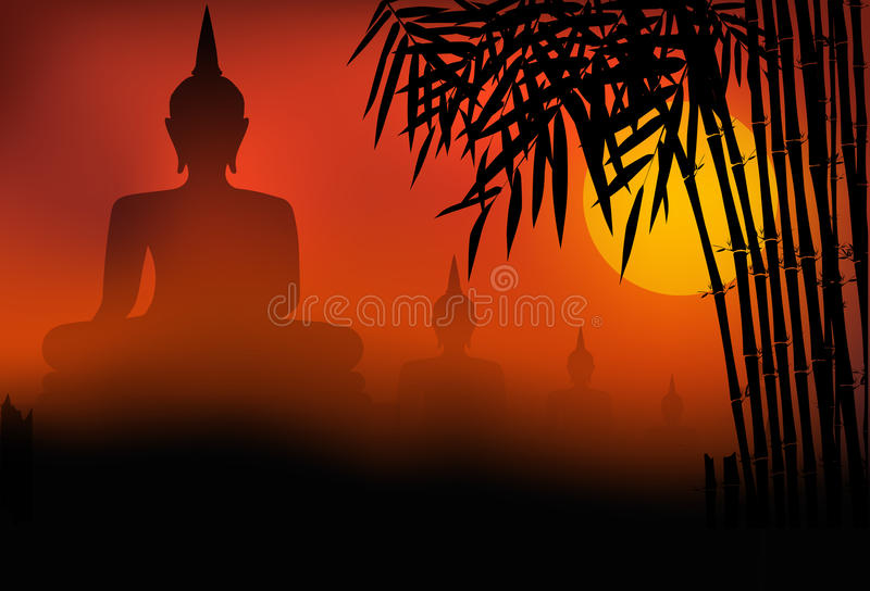 Buddhastatysolnedgång