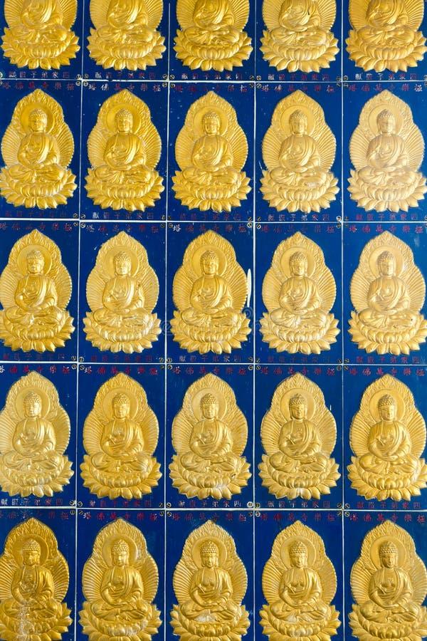 Buddhaväggtegelplatta Kek Lok Si Temple Penang Malaysia royaltyfri fotografi