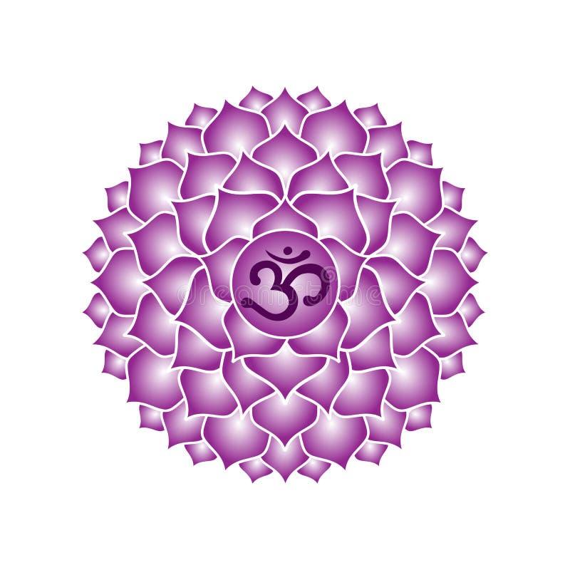 Buddhis esotéricos roxos do indiano da ioga do símbolo do ícone do chakra de Sahasrara ilustração royalty free