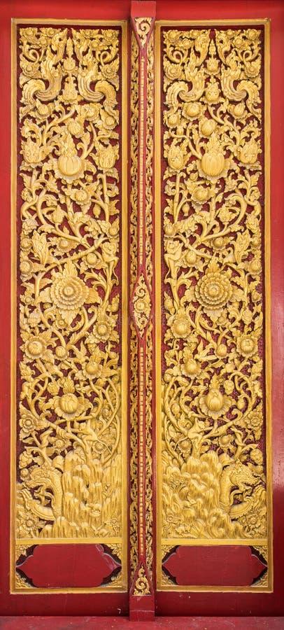 Buddhism church door texture. royalty free stock photos