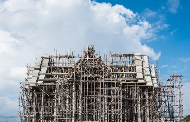 buddhism church under construction stock photo