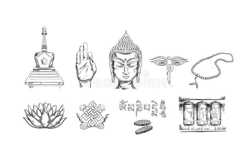 Buddhism icons collection. Spirituality,Yoga print. Vector hand drawn illustration. Sketch style. Ritual objects with Buddha head vector illustration