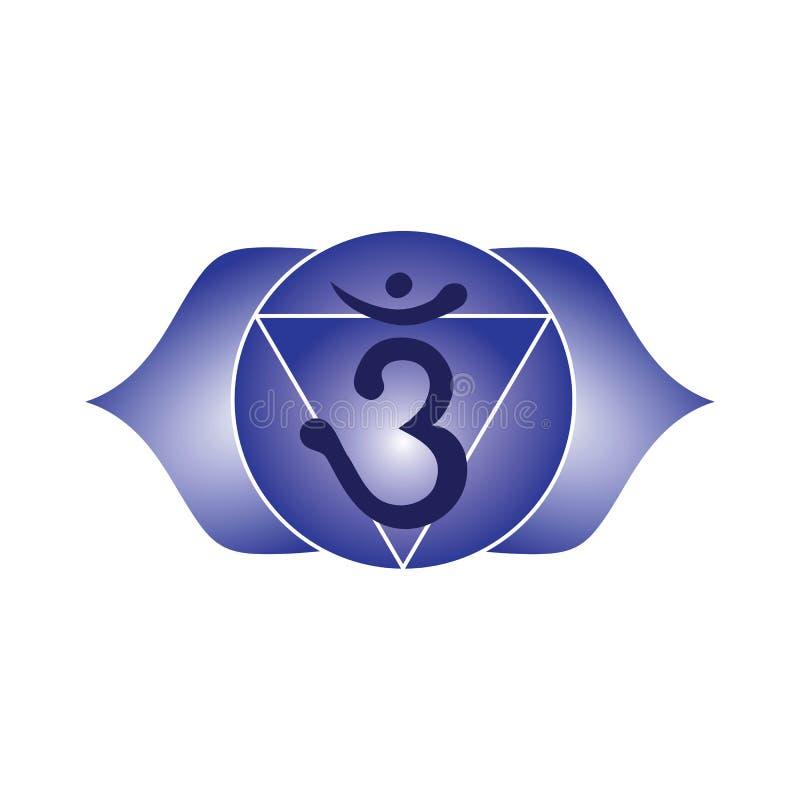 Buddhism indio del icono del chakra de Ajna de la yoga esotérica azul del símbolo hindú ilustración del vector
