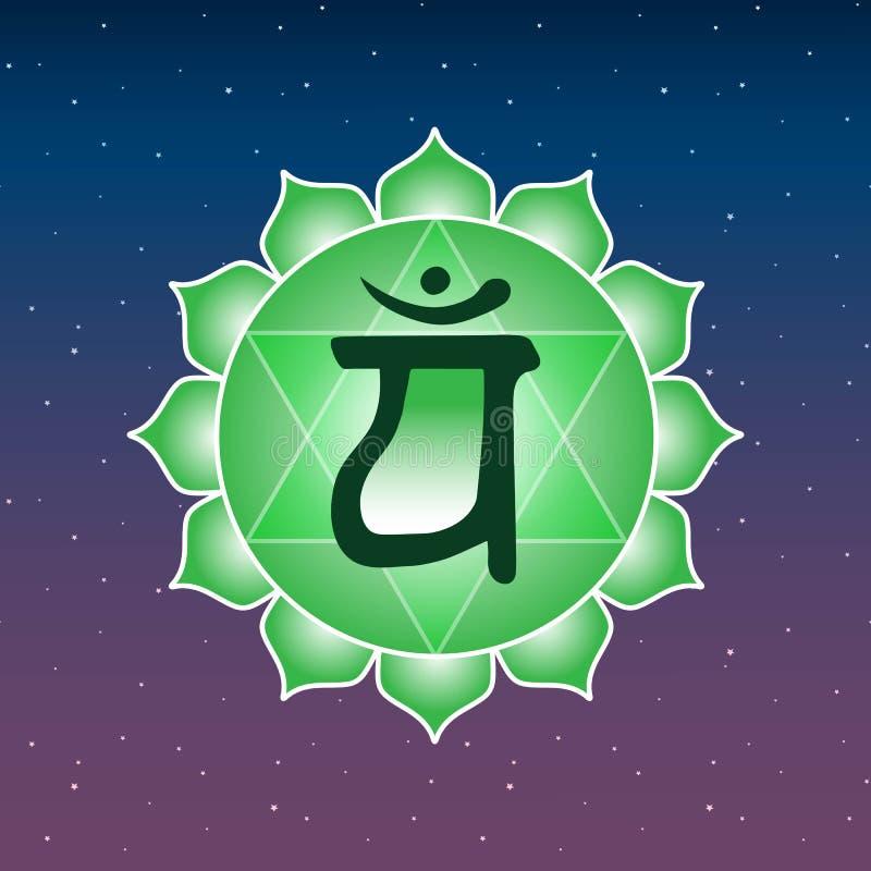 Buddhism indio h de la yoga esotérica del verde del símbolo del icono del chakra de Anahata libre illustration