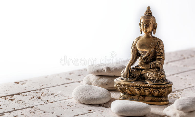 Buddhism and mindfulness symbol for meditation and wellbeing, copy space royalty free stock image