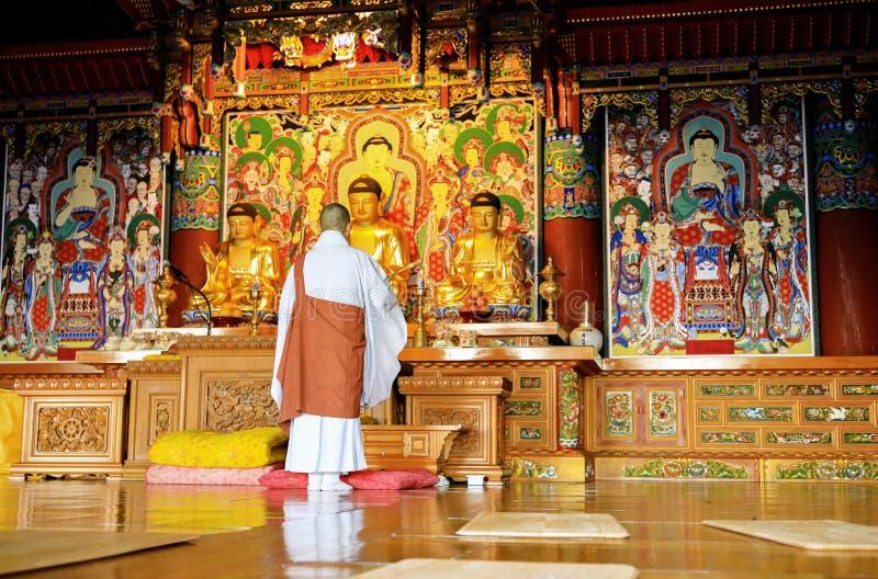 Buddhism monk are praying in front of Buddha image at Haedong yo stock image