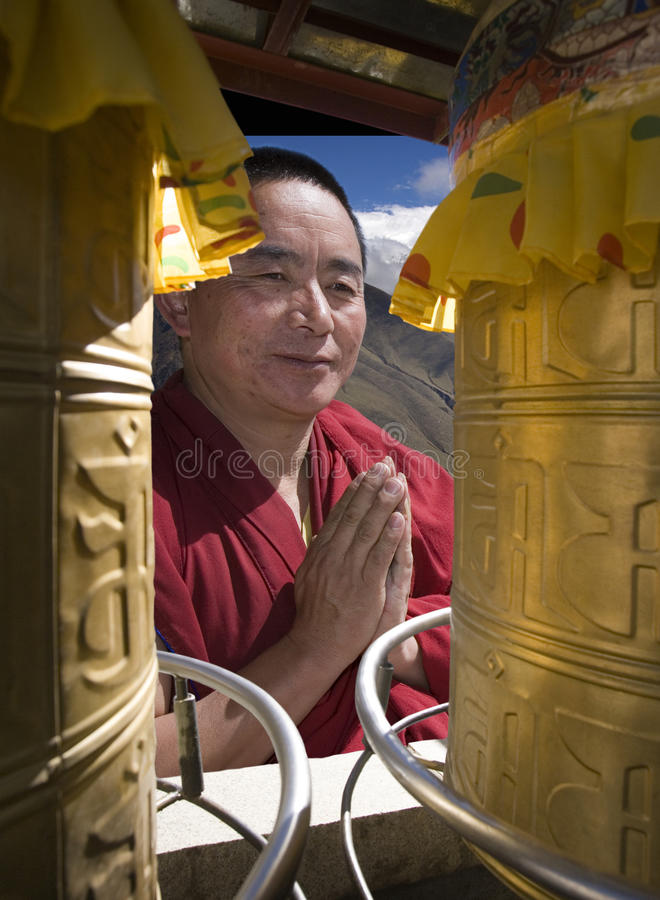Buddhism - Monk - Tibet - China stock photography