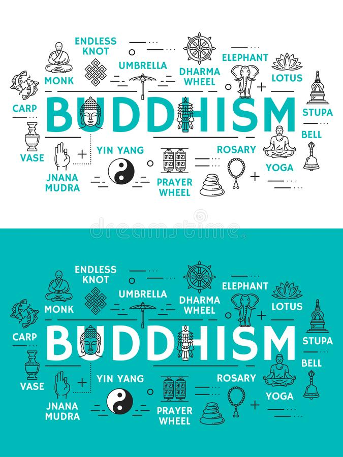 Buddhism religion and items icons. Buddhism religion icons. Monk and endless knot, dharma wheel and elephant, lotus and stupa, bell and yoga, rosary and prayer vector illustration