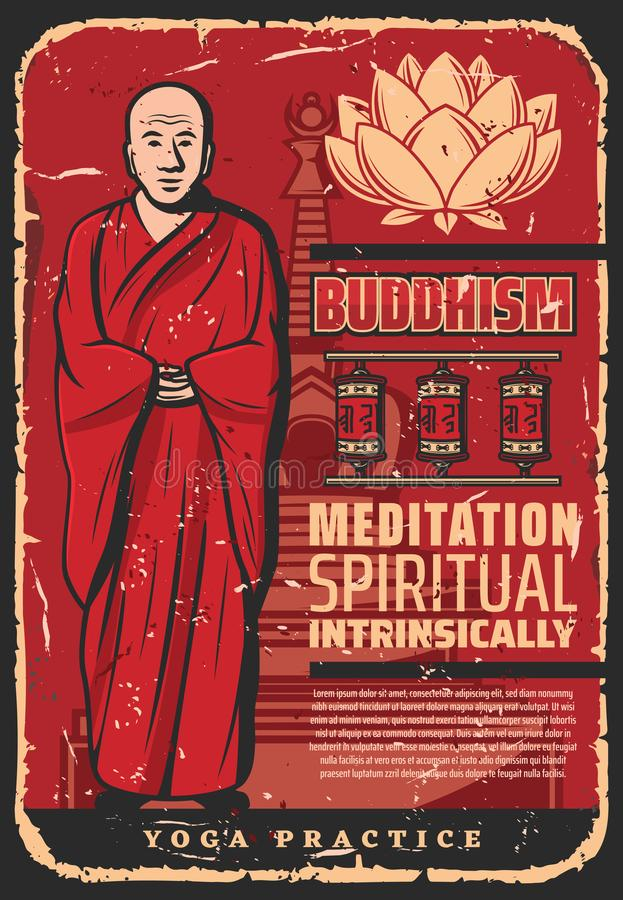Buddhism religion monk, prayer wheels and lotus. Buddhist monk with lotus in spiritual meditation, vintage poster. Vector Buddhism religious symbols of Buddha stock illustration