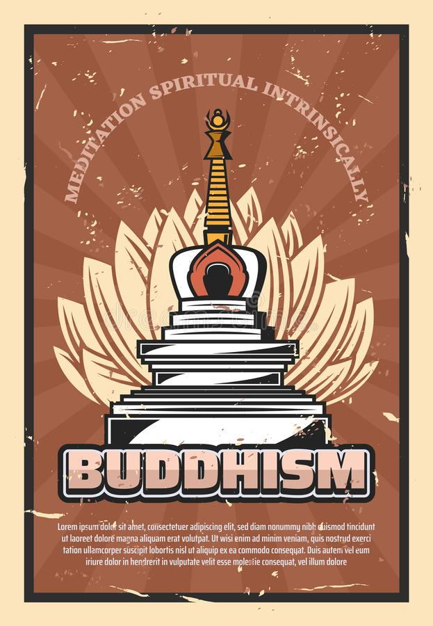 Buddhism religion, stupa and lotus flower. Buddhism religion retro poster, vector symbolic stupa and lotus flower. Meditation spiritual intrinsically, holy asian stock illustration