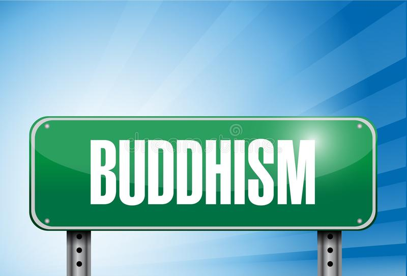 Buddhism Religious Road Sign Banner Illustration Royalty Free Stock Photography