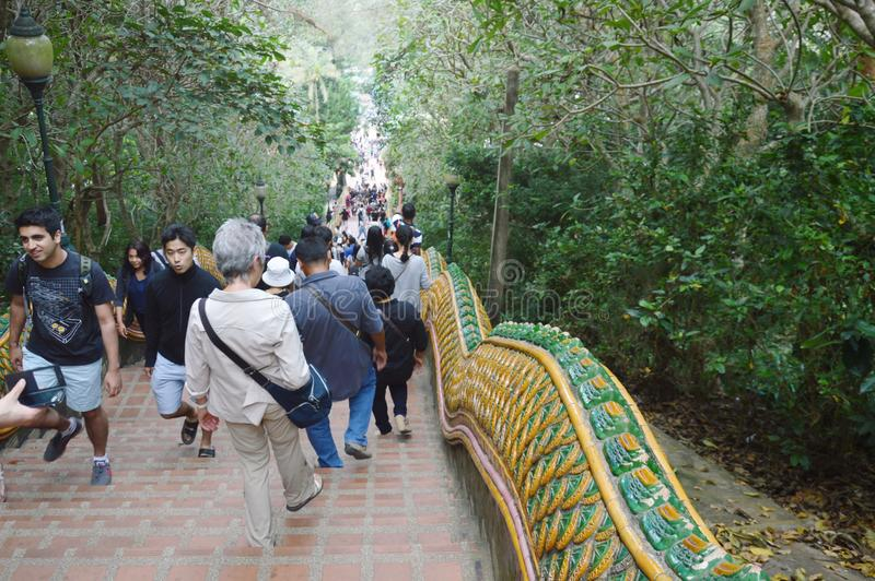 Buddhism and tourist up the stair Wat Phrathat Doi Suthep ancient temple in thailand stock images