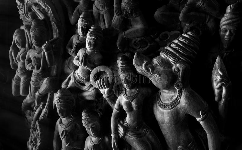 Buddhism wooden sculptures royalty free stock photo