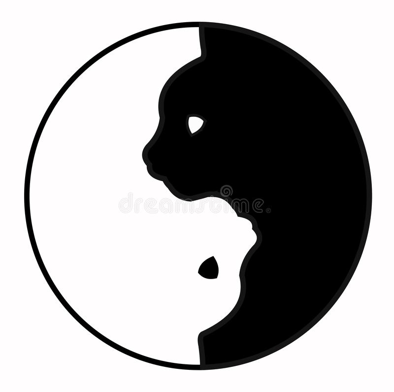 Buddhism Yin Yang Cats. Simple and cute black and white cats in yinyang shape. Vector illustration. royalty free illustration