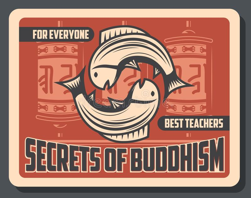 Buddhismus, Gebetsräder und Karpfenfische stock abbildung