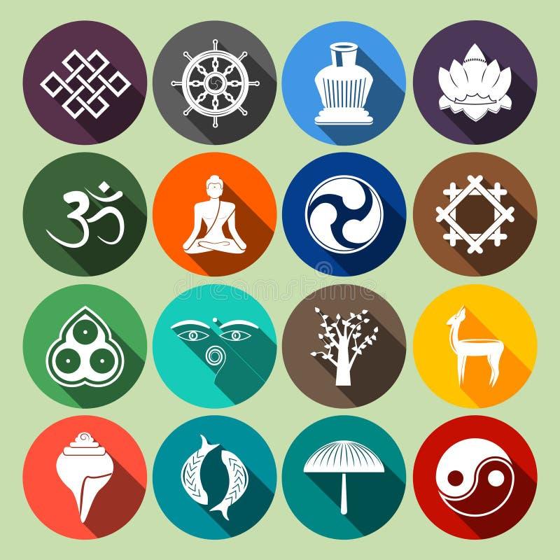 Buddhismus-Ikonen eingestellte Ebene lizenzfreie abbildung