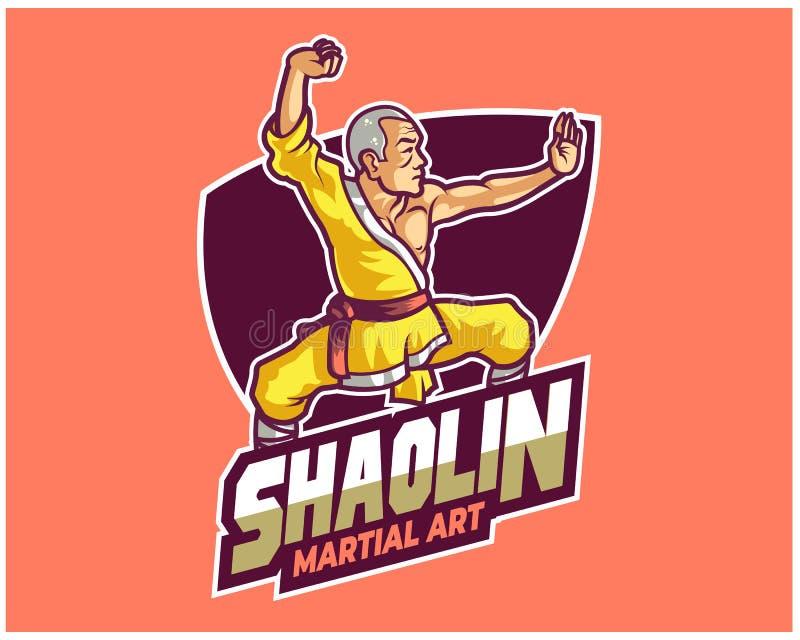 Buddhismus traditionelles Vorlagenkarikatur-Maskottchen Logo Badge Shaolin Kungfu stock abbildung