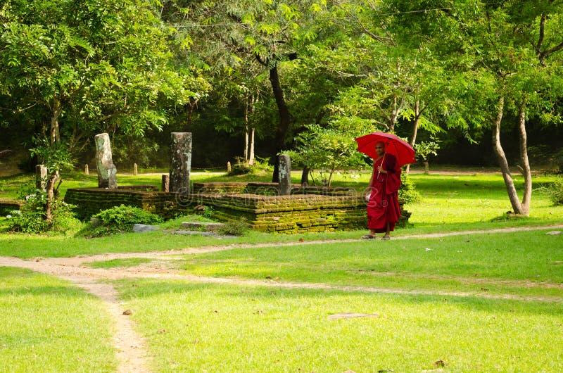 Buddhismusmönch in der roten Kleidung folgt dem Pfad stockfotografie