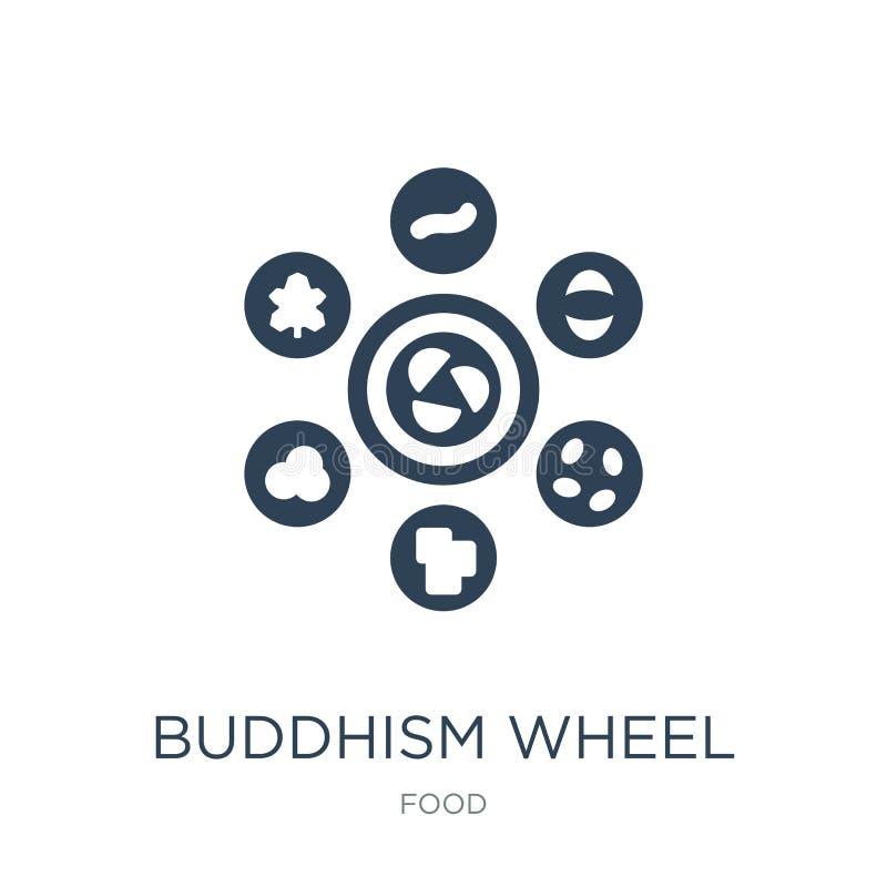Buddhismusradikone in der modischen Entwurfsart Buddhismusradikone lokalisiert auf weißem Hintergrund Buddhismusrad-Vektorikone e stock abbildung