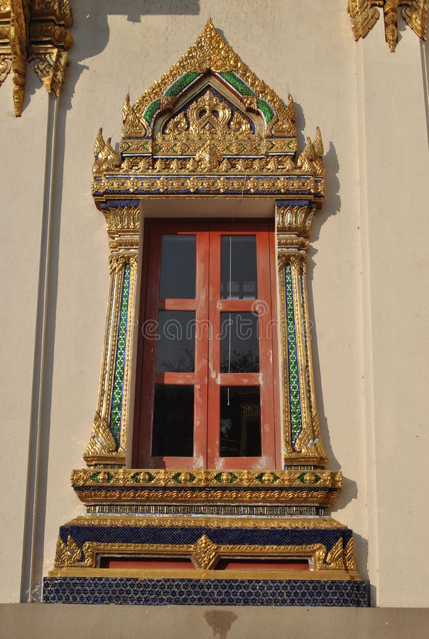 Buddhist Architecture Window at Wat Phra Sri Beautiful Temple Bangkok Thailand stock photography
