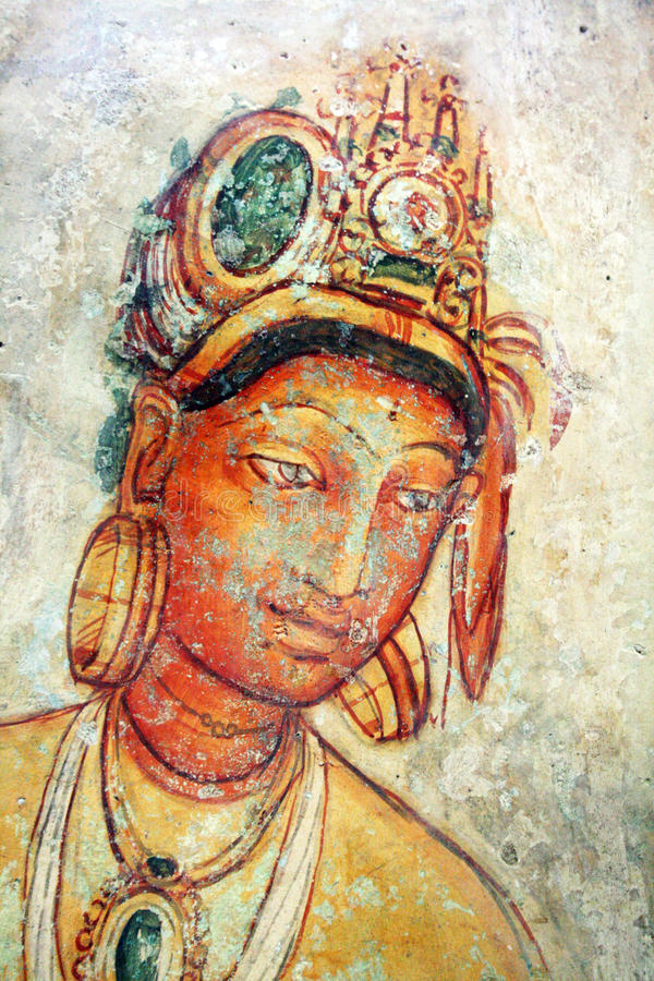 Buddhist art. The famous paintings of sigiriya in sri lanka royalty free stock photos
