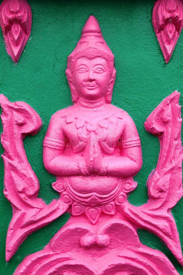 Buddhist art stucco. On wall or pillar of church, temple and sanctuary stock photo