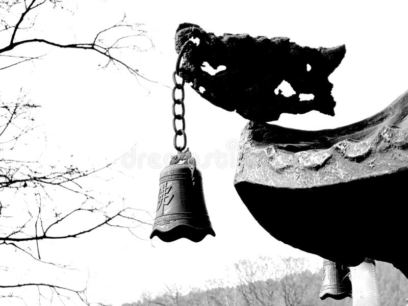 Buddhist bells in Chinese temples. Chinese temples are equipped with bells, which hang on the eaves of buildings royalty free stock image