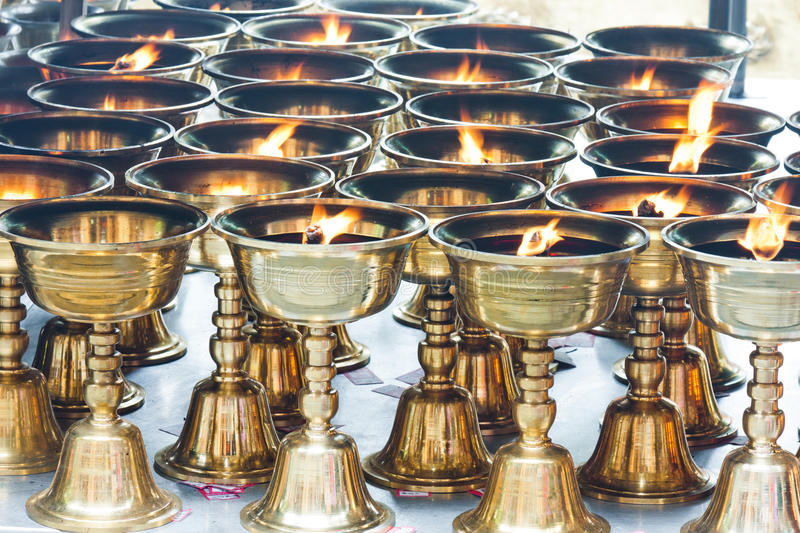 Download Buddhist Butter Lamps In Temple Stock Image - Image: 21130851