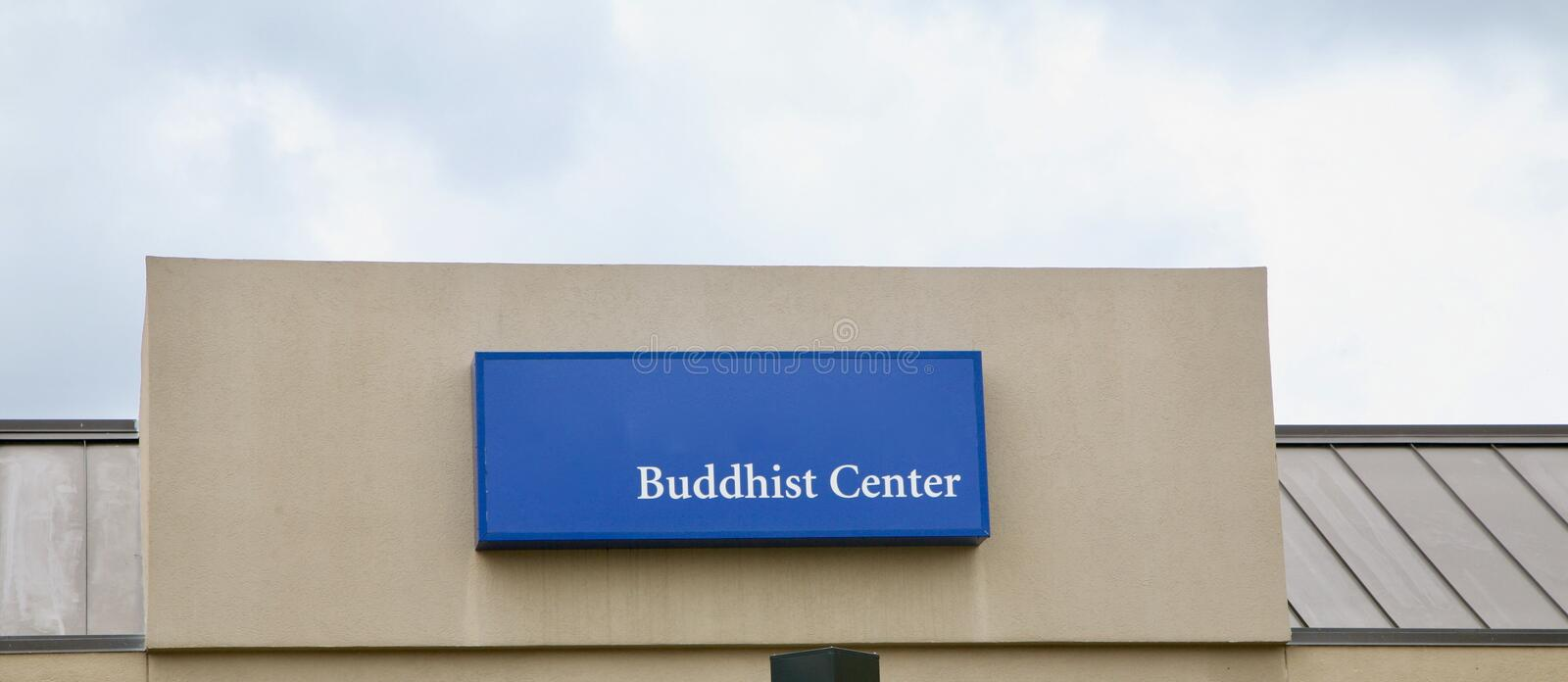Buddhist Center. Buddhism is a religion and dharma that encompasses a variety of traditions, beliefs and spiritual practices largely based on teachings royalty free stock image