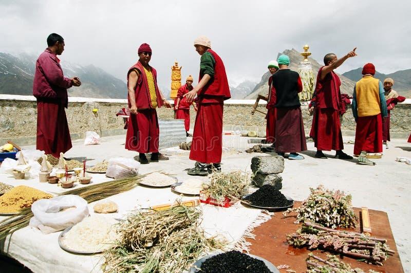 Buddhist ceremony. Monks from Ki monastery, Spiti, Himachalpradesh, India Date: May 2007 preparing the holy puja royalty free stock photography